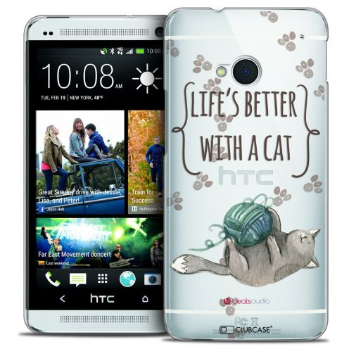 Extra Slim Crystal HTC One (M7) Case Quote Life's Better With a Cat