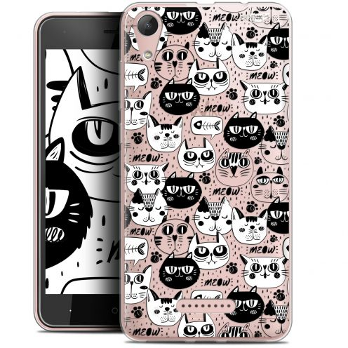 "Extra Slim Gel Wiko Lenny 4 (5"") Case Design Chat Noir Chat Blanc"