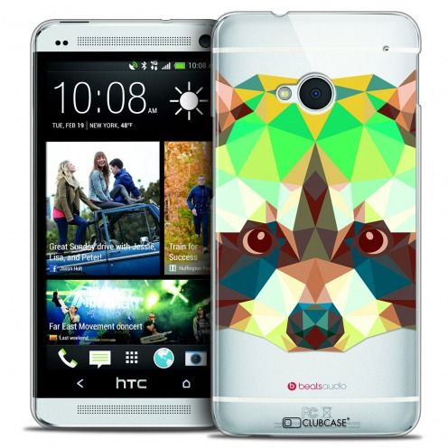 Extra Slim Crystal HTC One (M7) Case Polygon Animals Racoon