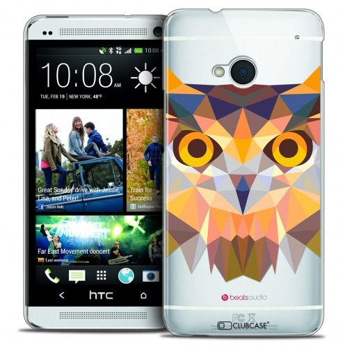 Extra Slim Crystal HTC One (M7) Case Polygon Animals Owl