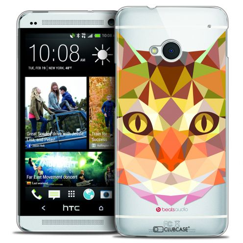 Extra Slim Crystal HTC One (M7) Case Polygon Animals Cat