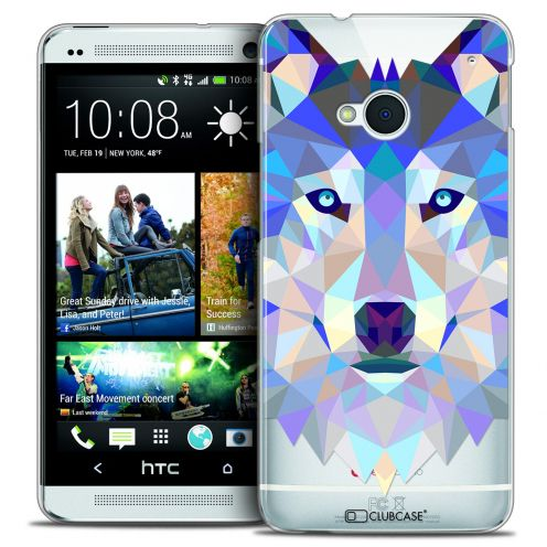 Extra Slim Crystal HTC One (M7) Case Polygon Animals Wolf