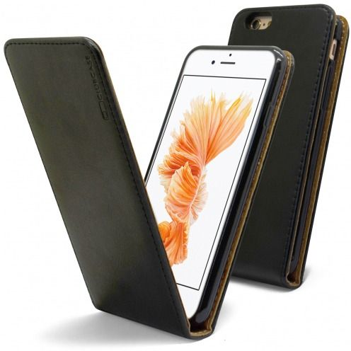 Clamshell Flip Flexi Case for Apple iPhone 6 / 6s Genuine Italian Leather Black