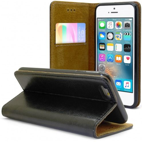 Folio Wallet Flexi Case for Apple iPhone 6 / 6s Genuine Italian Leather Black