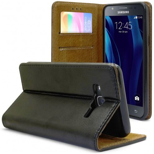 Folio Wallet Flexi Case for Samsung Galaxy J5 Genuine Italian Leather Black