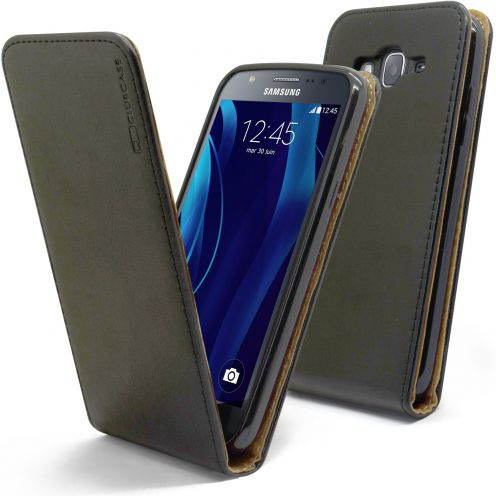 Clamshell Flip Flexi Case for Samsung Galaxy J5 J500 Genuine Italian Leather Black