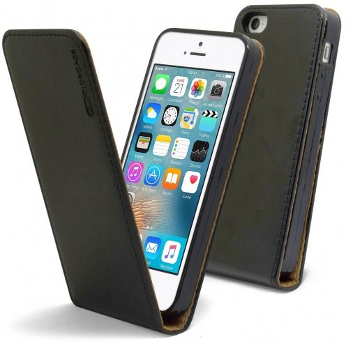 Clamshell Flip Flexi Case for Apple iPhone 5/5S/SE Genuine Italian Leather Black
