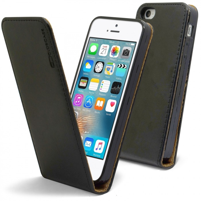 new product 237c3 6b635 Clamshell Flip Flexi Case for Apple iPhone 5/5S/SE Genuine Italian Leather  Black