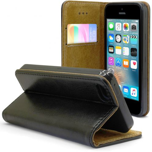 Folio Wallet Flexi Case for Apple iPhone 5/5S/SE Genuine Italian Leather Black