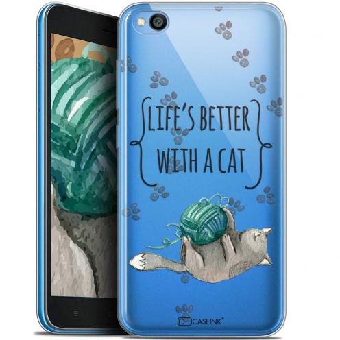 "Extra Slim Gel Xiaomi Redmi Go (5"") Case Quote Life's Better With a Cat"