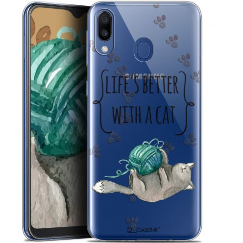 """Extra Slim Gel Samsung Galaxy M20 (6.3"""") Case Quote Life's Better With a Cat"""