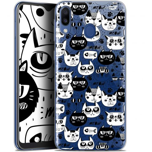 "Extra Slim Gel Samsung Galaxy M20 (6.3"") Case Design Chat Noir Chat Blanc"