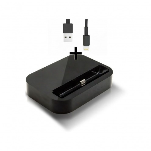 Dock station Charge & Sync for iPhone 5 Glossy black + 8 Pins usb cable