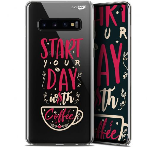"Extra Slim Gel Samsung Galaxy S10 (6.1"") Case Design Start With Coffee"