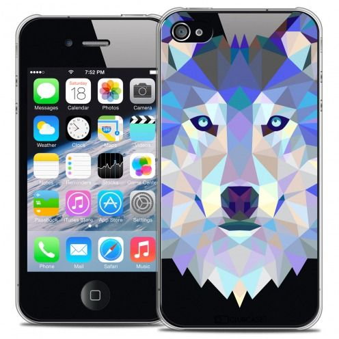 Extra Slim Crystal iPhone 4/4S Case Polygon Animals Wolf