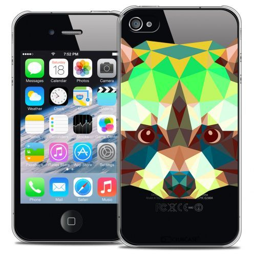Extra Slim Crystal iPhone 4/4S Case Polygon Animals Racoon