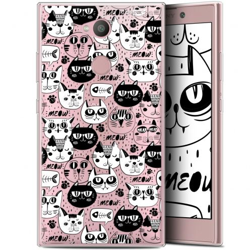 "Extra Slim Gel Sony Xperia L2 (5.5"") Case Design Chat Noir Chat Blanc"