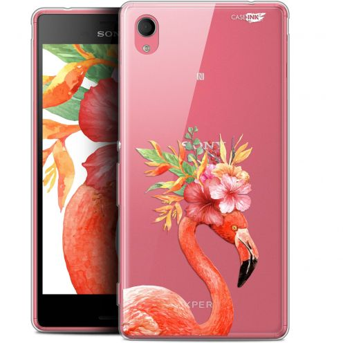 "Extra Slim Gel Sony Xperia M4 Aqua (5"") Case Design Flamant Rose Fleuri"