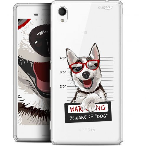 "Extra Slim Gel Sony Xperia M4 Aqua (5"") Case Design Beware The Husky Dog"