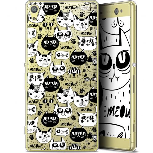 "Extra Slim Gel Sony Xperia XA Ultra (6"") Case Design Chat Noir Chat Blanc"