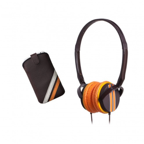 Headphones w/mic with case Blueway ® So Racing Vintage edition Brown