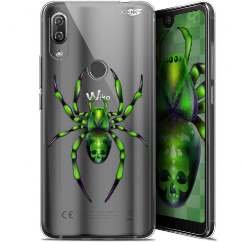 "Extra Slim Gel Wiko View 2 Pro (6"") Case Design Arraignée Verte"