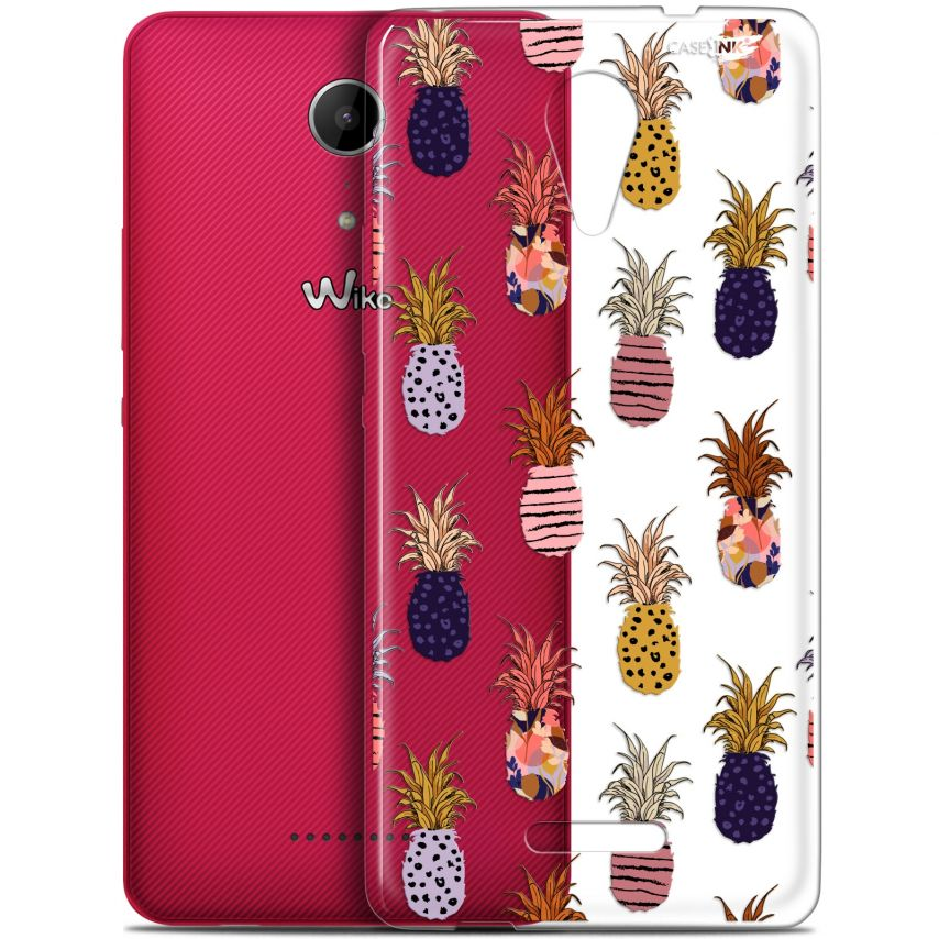 "Extra Slim Gel Wiko Tommy 2 (5"") Case Design Ananas Gold"