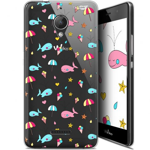 "Extra Slim Gel Wiko Tommy 2 Plus (5.5"") Case Design Baleine à la Plage"