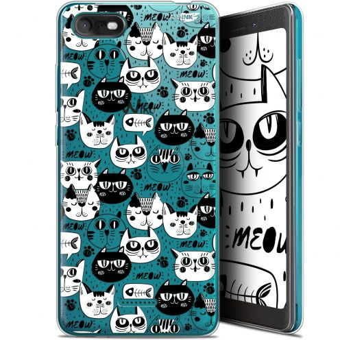 """Extra Slim Gel Wiko Tommy 3 (5.45"""") Case Design Chat Noir Chat Blanc"""