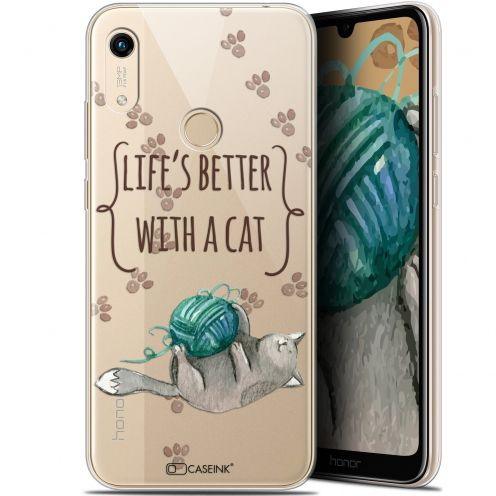 "Extra Slim Gel Huawei Honor 8A (6.1"") Case Quote Life's Better With a Cat"
