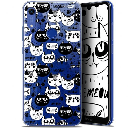 """Extra Slim Gel Huawei Honor 8A (6.1"""") Case Design Chat Noir Chat Blanc"""