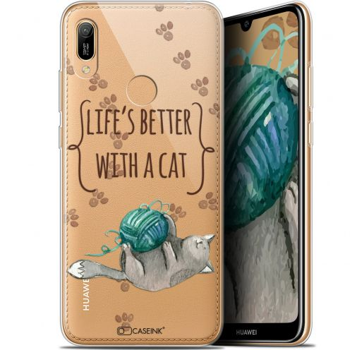 "Extra Slim Gel Huawei Y6 2019 (6.1"") Case Quote Life's Better With a Cat"