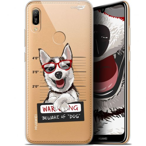 "Extra Slim Gel Huawei Y6 2019 (6.1"") Case Design Beware The Husky Dog"