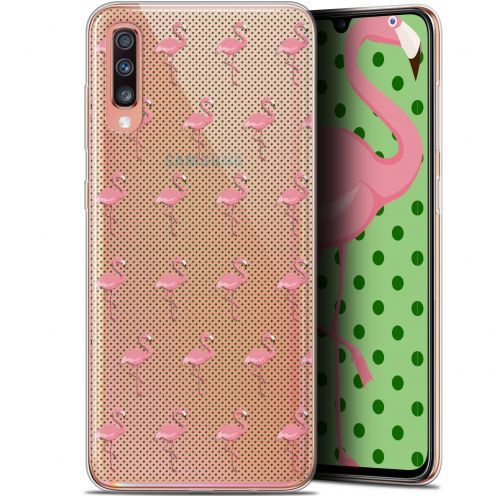 "Extra Slim Gel Samsung Galaxy A70 (6.7"") Case Pattern Les flamants Roses Dots"