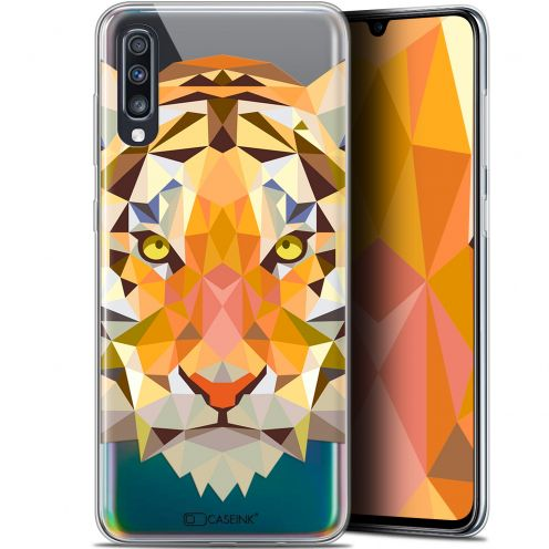 "Extra Slim Gel Samsung Galaxy A70 (6.7"") Case Polygon Animals Tiger"