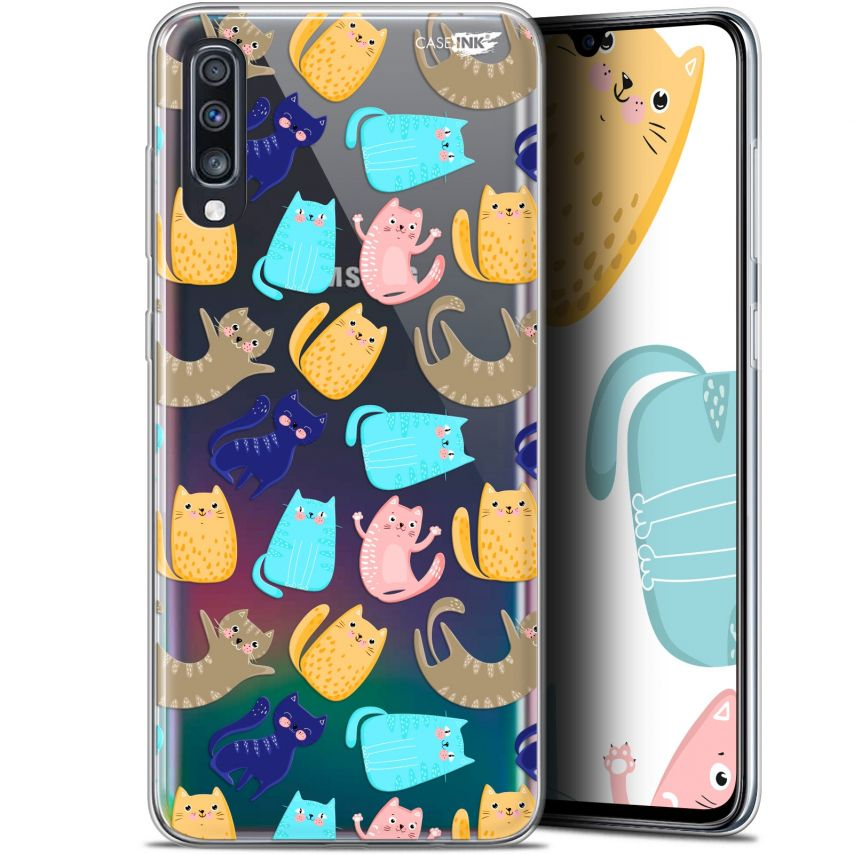 "Extra Slim Gel Samsung Galaxy A70 (6.7"") Case Design Chat Danse"
