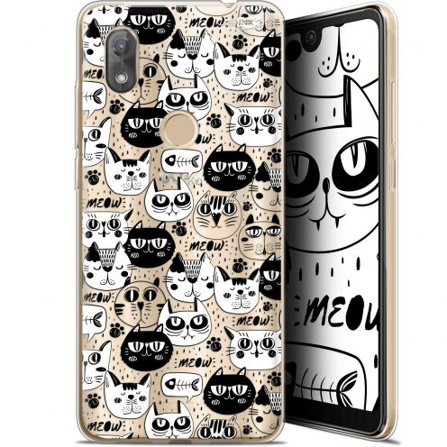"""Extra Slim Gel Wiko View 2 (6"""") Case Design Chat Noir Chat Blanc"""