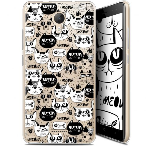 """Extra Slim Gel Wiko Jerry 2 (5.0"""") Case Design Chat Noir Chat Blanc"""