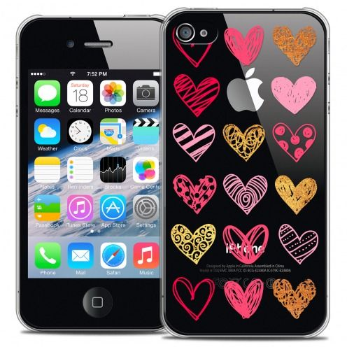 Extra Slim Crystal iPhone 4/4s Case Sweetie Doodling Hearts