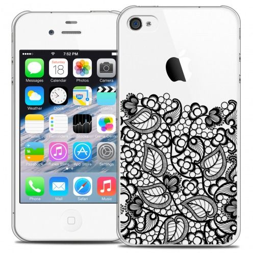 Extra Slim Crystal iPhone 4/4s Case Spring Bas dentelle Noir