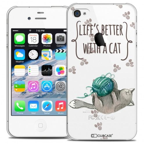 Extra Slim Crystal iPhone 4/4s Case Quote Life's Better With a Cat