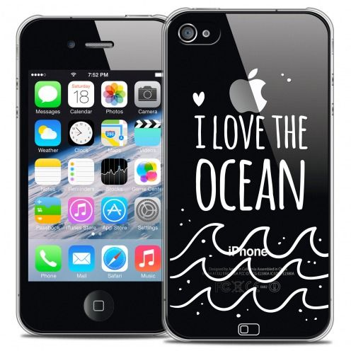 Extra Slim Crystal iPhone 4/4s Case Summer I Love Ocean