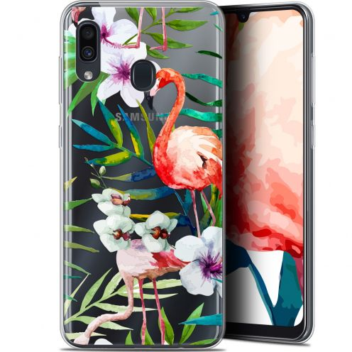 "Extra Slim Gel Samsung Galaxy A30 (6.4"") Case Watercolor Tropical Flamingo"