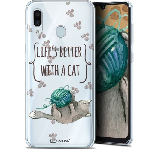 "Extra Slim Gel Samsung Galaxy A30 (6.4"") Case Quote Life's Better With a Cat"