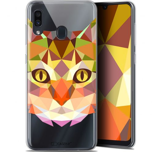"Extra Slim Gel Samsung Galaxy A30 (6.4"") Case Polygon Animals Cat"