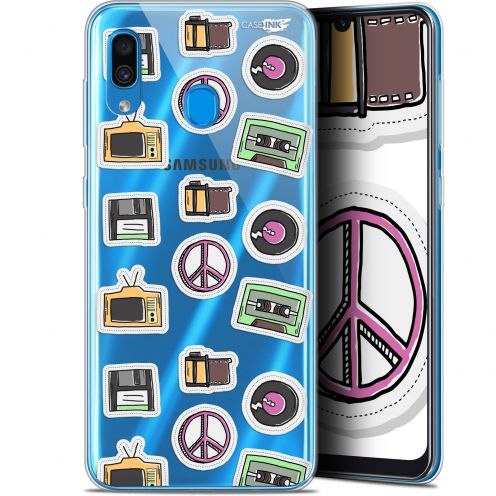 "Extra Slim Gel Samsung Galaxy A30 (6.4"") Case Design Vintage Stickers"