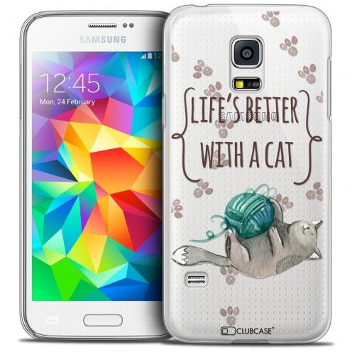 Extra Slim Crystal Galaxy S5 Mini Case Quote Life's Better With a Cat