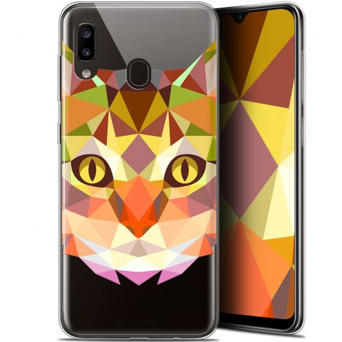 "Extra Slim Gel Samsung Galaxy A20 (6.4"") Case Polygon Animals Cat"
