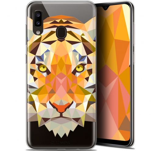 "Extra Slim Gel Samsung Galaxy A20 (6.4"") Case Polygon Animals Tiger"