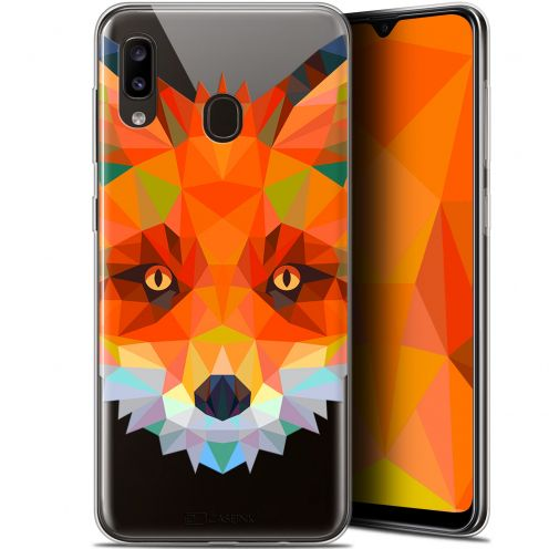 "Extra Slim Gel Samsung Galaxy A20 (6.4"") Case Polygon Animals Fox"